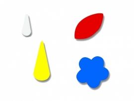Plakfiguren druppel 2 maten, blaadje en bloem