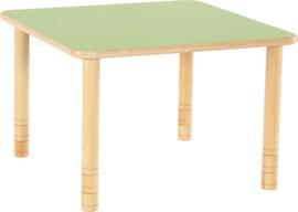 Vierkante Flexi tafel 80x80cm groen 58-76cm hoogte verstelbaar