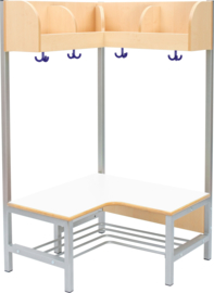 Flexi hoekgarderobe met frame 4, hoogte: 35 cm, wit/