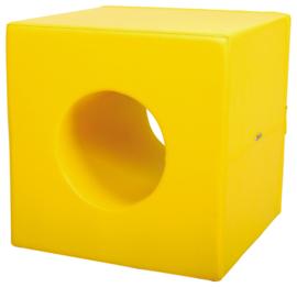 Foam kubus met gat - geel