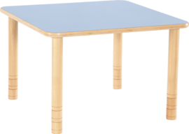 Vierkante Flexi tafel 80x80cm blauw 58-76cm hoogte verstelbaar