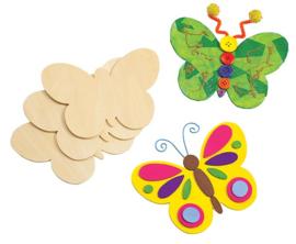 Vlinders hout  12 x 15 cm 12 stuks