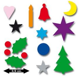 """Set van 12 zakjes Kerst plakfiguren """"stam"""""""