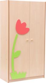Grote kledingkast met bloem applicatie