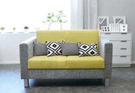 Relax bank grijs/groen - vierkante poten