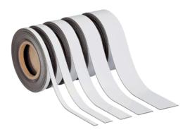Magneetband beschrijf- en wisbaar, 10 m. x 30 mm. x 1mm. wit