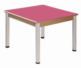 Beukenhouten tafel 80 x 80 cm. verstelbare metalen poten
