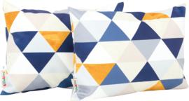 Rechthoekige kussens, met driehoeken, 2 stuks