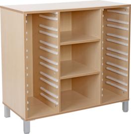 Premium 3 kolommen kast voor plastic bakken met planken