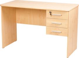 Vigo-bureau met afgeronde randen, met 3 laden beuken