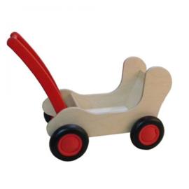 Poppenwagen rood laag