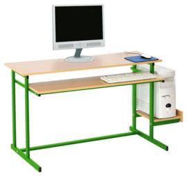 Computerbureau NEO 2, dubbel, met vaste toetsenbordlade -  groen