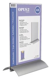 Kaarthouder OPUS 2 T-standaard A5 staand acryl aluminium