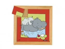 Puzzel nijlpaard moeder/kind 12 dlg.
