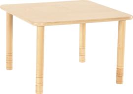 Vierkante Flexi tafel 80x80cm beuken 58-76cm hoogte verstelbaar