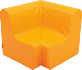 Hoge hoekbank zithoogte 31 cm. - oranje
