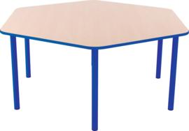 Zeshoekige Quint-tafel 128 cm met blauwe rand 40-58cm
