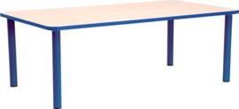 Rechthoekige Quint-tafel 115 x 65 cm met blauwe rand 40-58cm