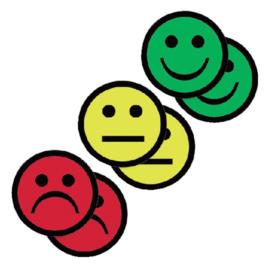 6x Magneet smiley 50mm 2x geel 2x groen 2x rood