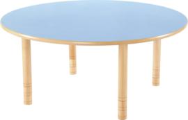 Ronde Flexi tafel 120cm blauw 58-76cm hoogte verstelbaar