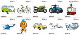Garderobe stickers - voertuigen, 10 stuks