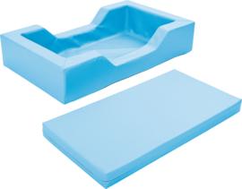 Schuimbed met uitsparingen - lichtblauw