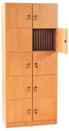 Kast met 8 kluisjes voor persoonlijke bezittingen en compartimenten voor dossiers beuken