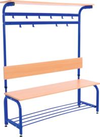 Garderobe met verstelbare bank en haken -  blauw