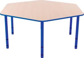 Zeshoekige Quint-tafel 128 cm met blauwe rand en in  40-58cm hoogte verstelbaar