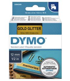 Labeltape Dymo 84349 D1 12mmx3m zwart op goudglitter