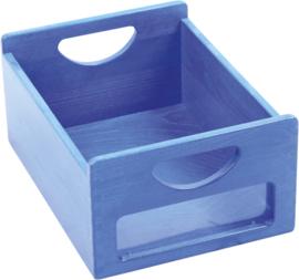 Houten bak met venster - blauw