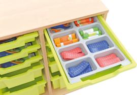 Verdeler voor ondiepe containers met 8 compartimenten