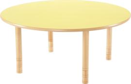 Ronde Flexi tafel 120cm geel 58-76cm hoogte verstelbaar