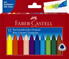 Waskrijt Faber Castell driehoekig 12 dlg.