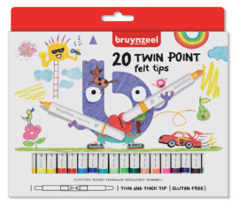 Viltstift Bruynzeel Kids Twin Points - 20 stuks assorti
