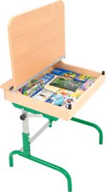 Tafel met een houten klep voor boeken, met verstelbare hoogte 3-5 - groen beuk