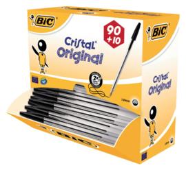 Balpen Bic Cristal zwart medium doos 90+10 gratis