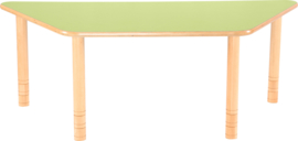 Trapezium Flexi tafel 150,5x80x80cm groen in hoogte verstelbaar