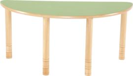 Halfronde Flexi tafel 120x60cm groen 58-76cm hoogte verstelbaar