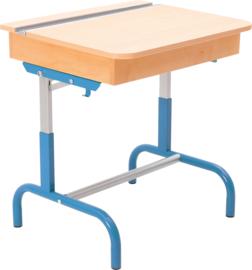 Tafel met een houten container voor boeken, met verstelbare hoogte 3-5 - blauw beuk
