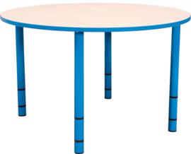 Ronde Quint-tafel 90 cm met licht blauwe rand en in  40-58cm hoogte verstelbaar