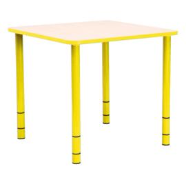 Vierkante Quint-tafel 65 x 65 cm met gele rand 40-58cm hoogte verstelbaar