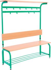 Garderobe met verstelbare bank en haken -  groen