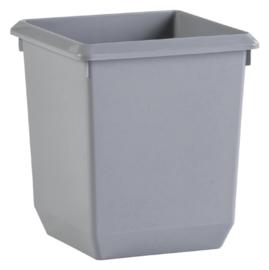 Papierbak kunststof vierkant 21 liter grijs