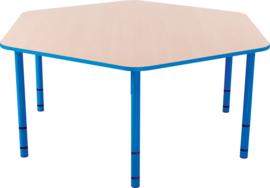 Zeshoekige Quint-tafel 128 cm met licht blauwe rand en in  40-58cm hoogte verstelbaar
