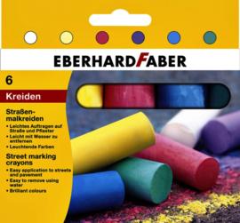 Stoepkrijt Eberhard Faber blister à 6 stuks assorti