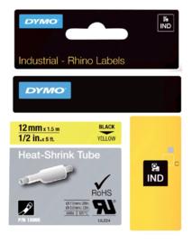 Labeltape Dymo Rhino 18056 krimpkous 12mmx1.5m zwart op geel
