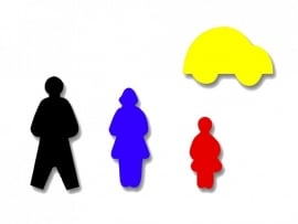 Plakfiguren vader, moeder, kind, auto
