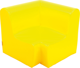 Hoge hoekbank zithoogte 34cm - geel