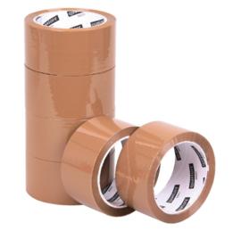 6 rol Verpakkingstape Quantore 50mmx60m PP bruin